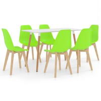 vidaXL 7-daļīgs virtuves mēbeļu komplekts, zaļš