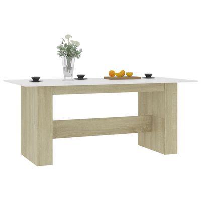 vidaXL virtuves galds, 180x90x76 cm, balta un ozolkoka krāsa