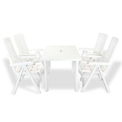 vidaXL 5-daļīgs dārza mēbeļu komplekts, plastmasa, balts