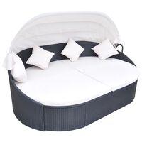 vidaXL dārza atpūtas gulta ar jumtiņu, melna PE rotangpalma