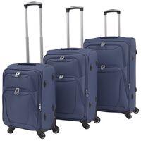 vidaXL mīkstie koferi ar riteņiem, 3 gab., tumši zili