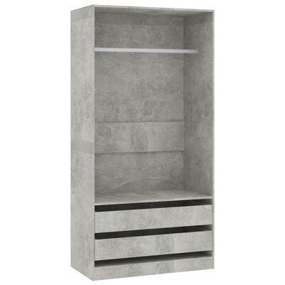 vidaXL skapis, betona pelēks, 100x50x200 cm, skaidu plāksne