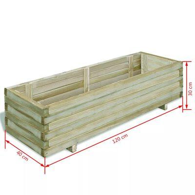 vidaXL augstā puķu kaste, 120x40x30 cm, koks, taisnstūra forma