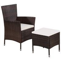 vidaXL dārza krēsls ar kājsoliņu un spilveniem, PE rotangpalma, brūns