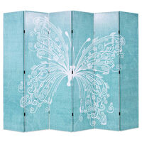 vidaXL istabas aizslietnis, 228x170 cm, saliekams, zils ar tauriņu