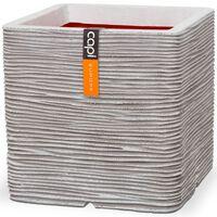 Capi kvadrātveida puķu kaste Nature Rib, 30x30 cm, ziloņkaula, KOFI902