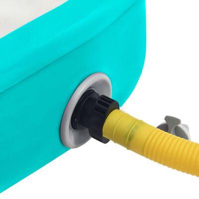 vidaXL piepūšams vingrošanas paklājs ar pumpi, 700x100x20 cm, zaļš PVC