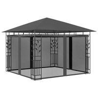 vidaXL dārza nojume ar moskītu tīklu, 3x3x2,73 m, 180 g/m², pelēka