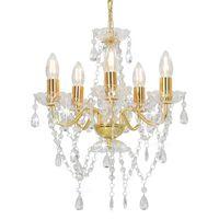 vidaXL lustra ar kristāla pērlītēm, zelta krāsā, apaļa, 5 x E14