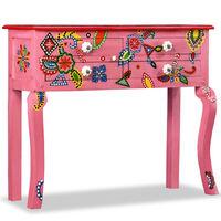 vidaXL konsoles galdiņš, mango masīvkoks, rozā, apgleznots