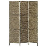 vidaXL 3-paneļu istabas aizslietnis, 116x160 cm, ūdens hiacinte, brūns