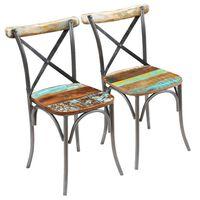 vidaXL virtuves krēsli, 2 gab., pārstrādāts masīvkoks