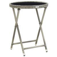 vidaXL tējas galdiņš, pelēks, 60 cm, PE pinums, rūdīts stikls