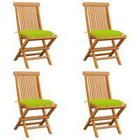 vidaXL dārza krēsli, spilgti zaļi matrači, 4 gab., masīvs tīkkoks