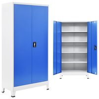 vidaXL biroja skapis, 90x40x180 cm, metāls, pelēks un zils