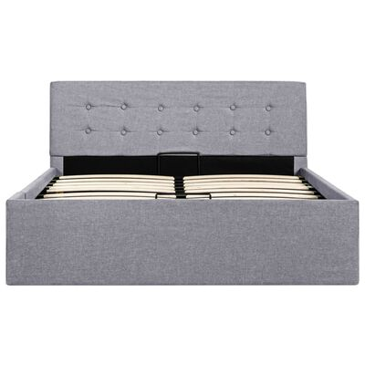 vidaXL gulta ar hidraulikas mehānismu, gaiši pelēka, 120x200 cm, audums