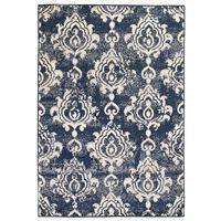 vidaXL paklājs, 140x200 cm, moderns Paisley raksts, zils ar bēšu