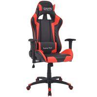 vidaXL atgāžams biroja krēsls, mākslīgā āda, melns ar sarkanu