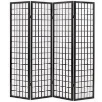 vidaXL istabas aizslietnis, 4 paneļi, 160x170 cm, japāņu stils, melns