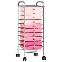 vidaXL uzglabāšanas ratiņi, 10 atvilktnes, rozā ombre krāsu plastmasa