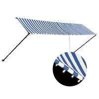 vidaXL izvelkama markīze ar LED, 400x150 cm, zila ar baltu
