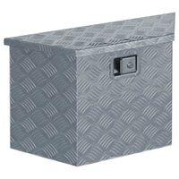vidaXL kaste, 70x24x42 cm, trapecveida, alumīnijs, sudraba krāsā