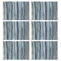 vidaXL Chindi galda paliktņi, 6 gab., džinsu zili, 30x45 cm, kokvilna