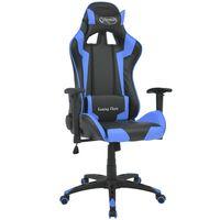 vidaXL atgāžams biroja krēsls, mākslīgā āda, melns ar zilu