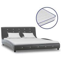 vidaXL gulta ar atmiņas matraci, pelēka mākslīgā āda, 140x200 cm