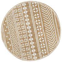 vidaXL paklājs ar baltu apdruku, džuta, 120 cm, roku darbs