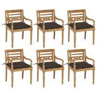 vidaXL dārza krēsli ar matračiem, 6 gab., masīvs tīkkoks