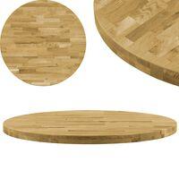 vidaXL galda virsma, 600 mm, 44 mm, apaļa, ozola masīvkoks