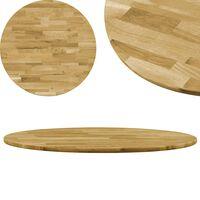 vidaXL galda virsma, 600 mm, 23 mm, apaļa, ozola masīvkoks