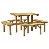 vidaXL piknika galds ar 4 soliem, 172x172x73 cm, impregnēta priede