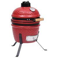 vidaXL Kamado grils, kūpinātava, keramika, 56 cm, sarkans