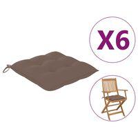 vidaXL dārza krēslu spilveni, 6 gab., pelēkbrūni, 40x40x7 cm, audums