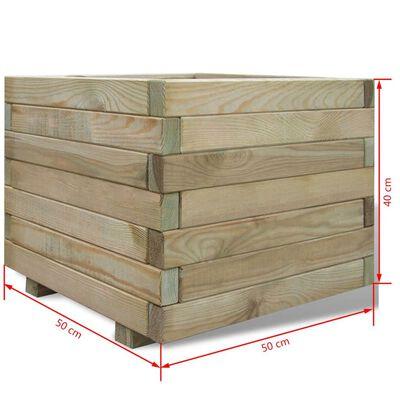 vidaXL augstā puķu kaste, 50x50x40 cm, koks, kvadrāta forma