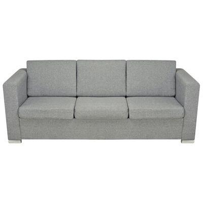 vidaXL dīvāns, trīsvietīgs, gaiši pelēks audums