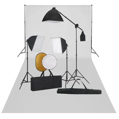 vidaXL fotostudijas komplekts – gaismas izkliedētāji, foni, reflektori