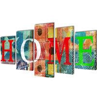 """Modulārā Foto Glezna Krāsaina ar Uzrakstu """"Home"""" 200 x 100 cm"""