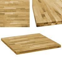 vidaXL galda virsma, 80x80 cm, 44 mm, kvadrāta forma, ozola masīvkoks