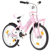vidaXL bērnu velosipēds ar priekšējo bagāžnieku, 18'', rozā ar melnu