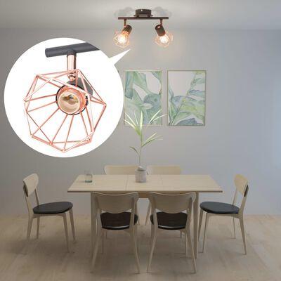 vidaXL griestu lampa ar 2 starmešiem, E14, melna ar vara brūnu