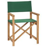 vidaXL saliekams režisora krēsls, masīvs tīkkoks, zaļš