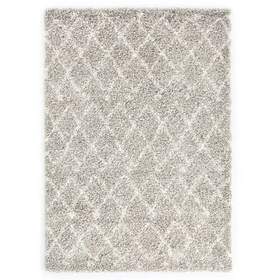 vidaXL paklājs Berber Shaggy, 120x170 cm, PP, bēša un smilšu krāsa