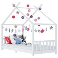 vidaXL bērnu gultas rāmis, balts, priedes masīvkoks, 70x140 cm