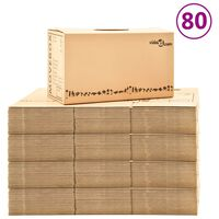 vidaXL pārvākšanās kastes, 80 gab., kartons, XXL, 60x33x34 cm