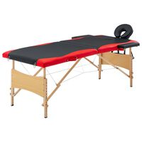vidaXL saliekams masāžas galds, 2 daļas, koks, melns ar sarkanu