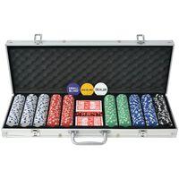 vidaXL pokera komplekts ar 500 alumīnija žetoniem