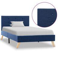 vidaXL gultas rāmis, zils audums, 90x200 cm